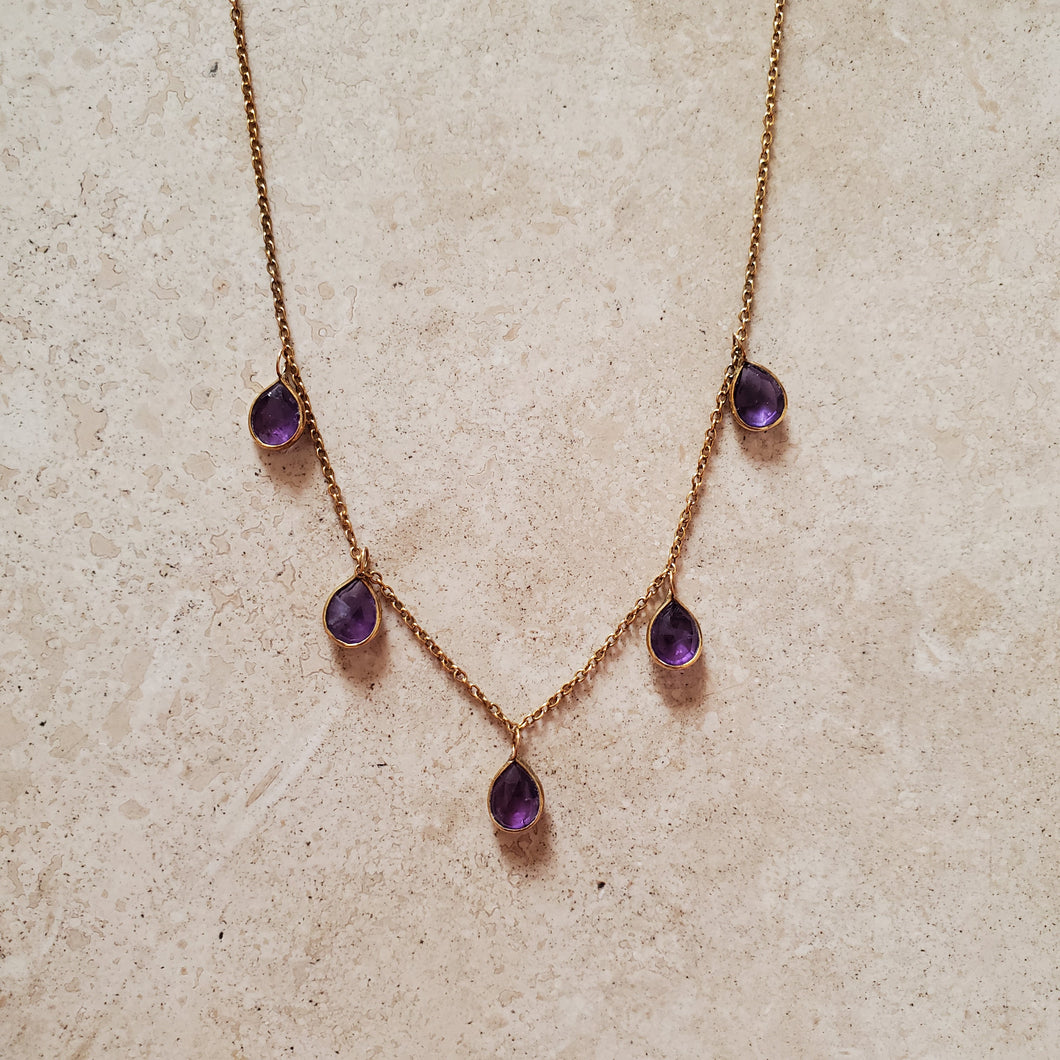 Amethyst Tear  Drop Necklace