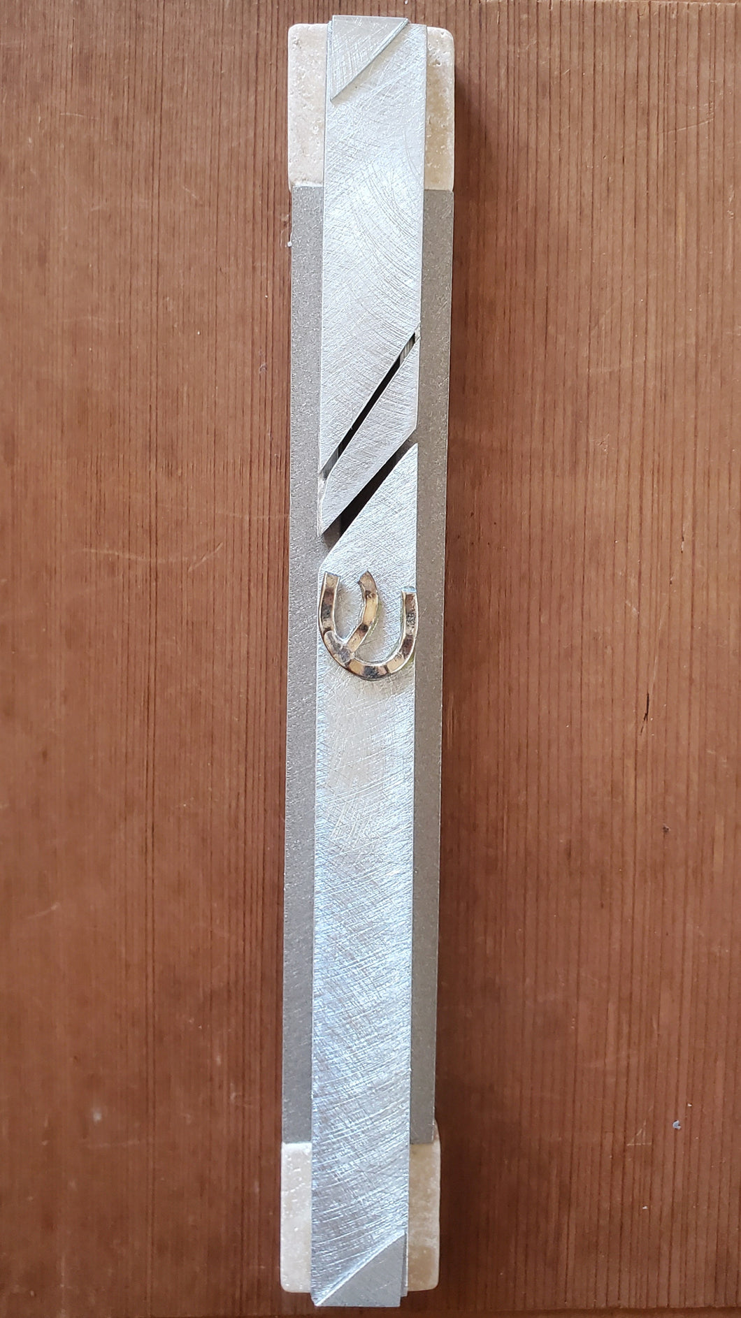 Extra Large Aluminum and Jerusalem Stone Mezuzah