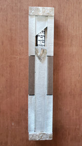 Large Silver and Gray Aluminum Mezuzah with Window
