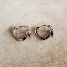 Load image into Gallery viewer, Heart Shaped Huggie Earrings with CZ Heart