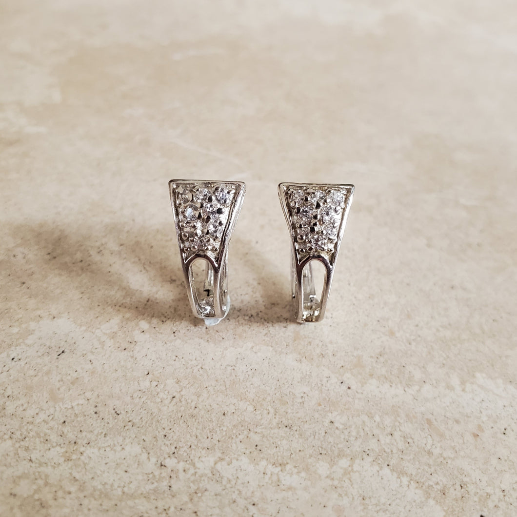 Silver Huggie Earrings with CZs