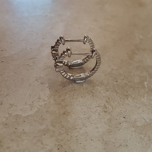 Engraved Silver Huggie Earring with Flower