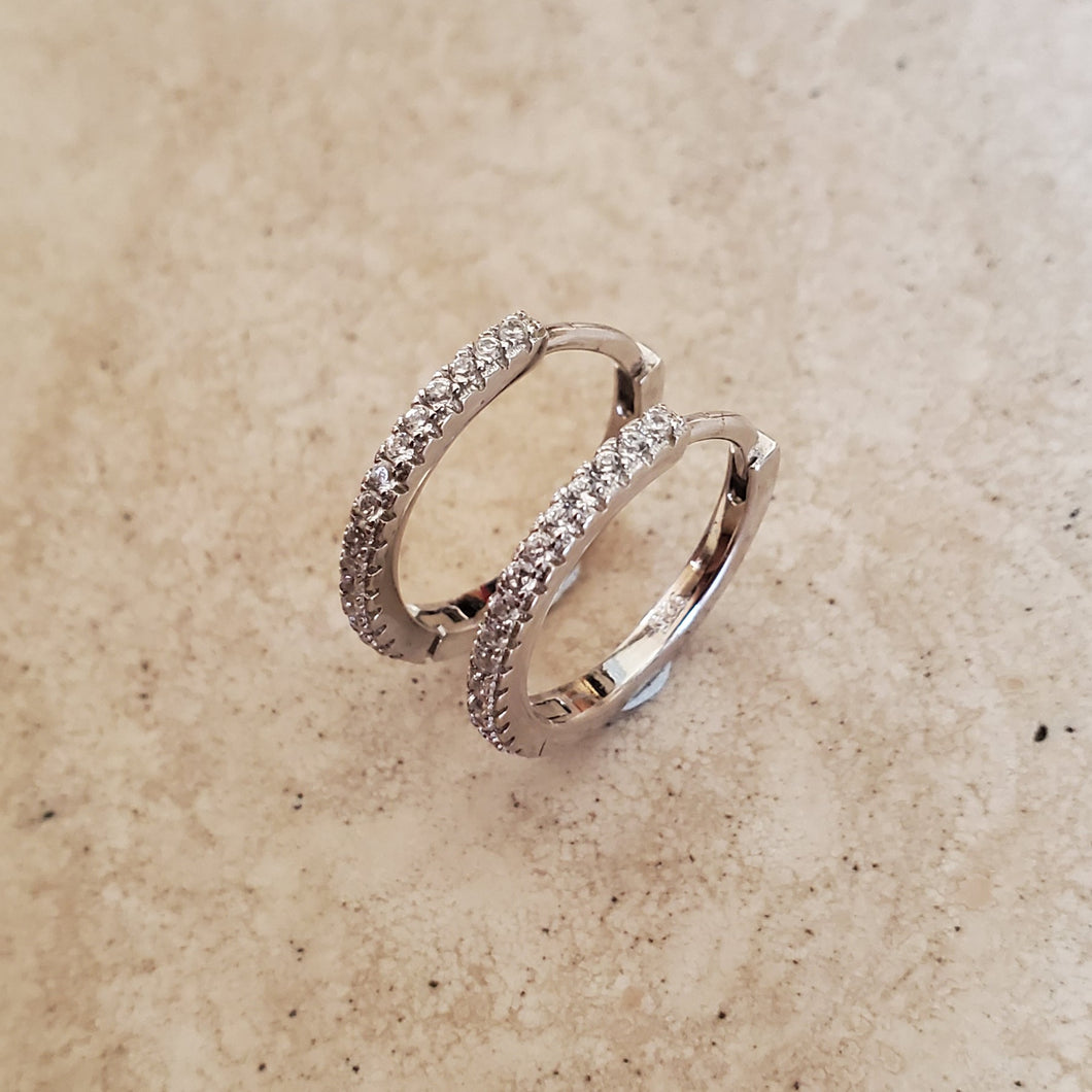 1 Row CZ Huggie Earrings