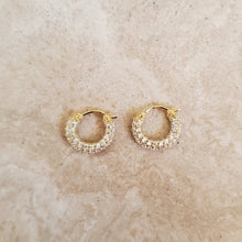Load image into Gallery viewer, Tiny CZ Hoop Earrings