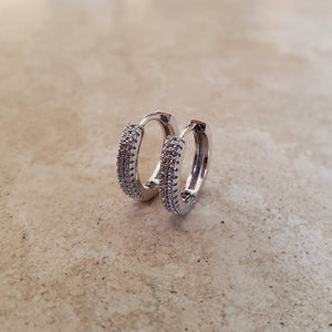 2 Row CZ Huggie Earrings