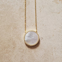 Load image into Gallery viewer, Mother of Pearl and CZ Circle Necklace