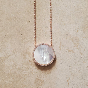 Mother of Pearl and CZ Circle Necklace
