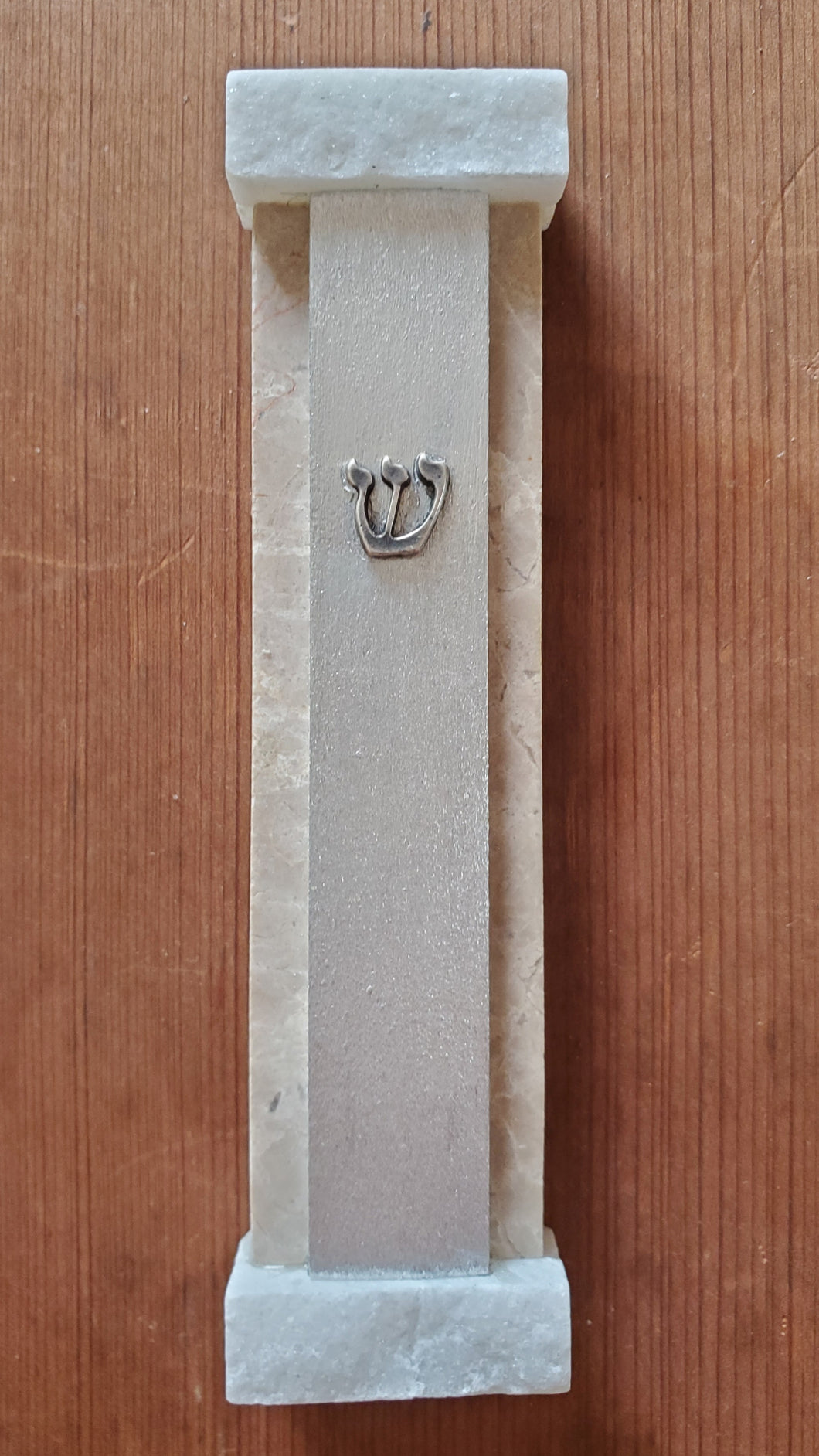 Medium Aluminum, Jerusalem Stone, and Quartz Mezuzah
