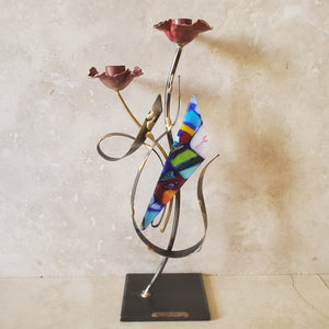 Tall Glass and Metal Handmade Candleholder