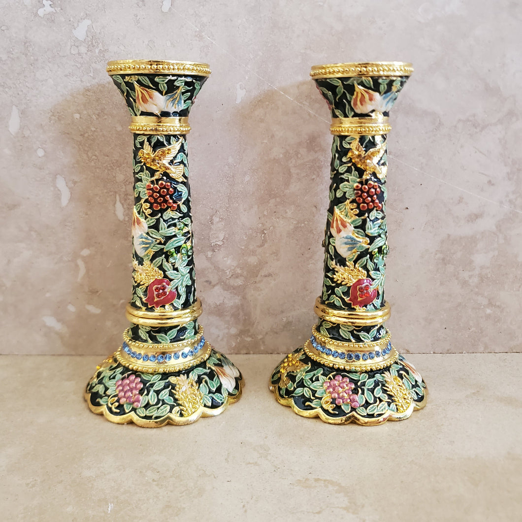 Enamel with Crystal Candlesticks
