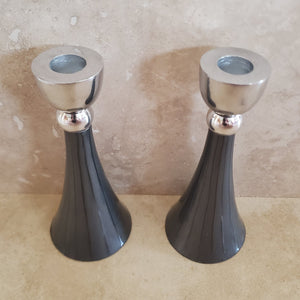 Pewter with Enamel Candlesticks