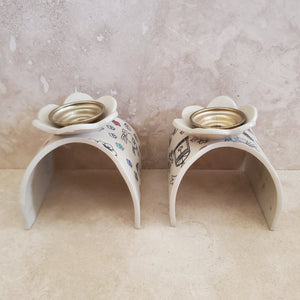 Hand Painted Ceramic Challah Tray and Candleholders