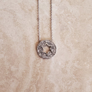 Round CZ Star of David Necklace