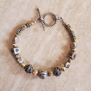 Sterling Silver and Gold Filled Beaded Bracelet