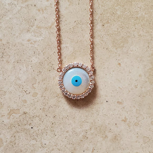 Mother of Pearl Evil Eye Necklace with CZs
