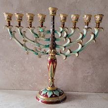 Load image into Gallery viewer, Enamel Crystal Jeweled Menorah