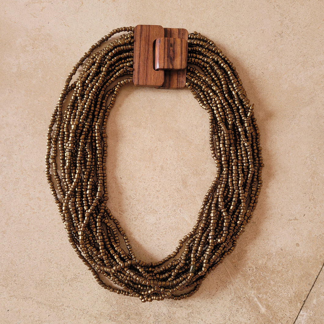 Beaded Necklace with Wooden Buckle Clasp