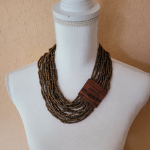 Load image into Gallery viewer, Beaded Necklace with Wooden Buckle Clasp