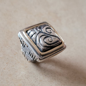 Sterling Silver and 14K Gold Square Ring