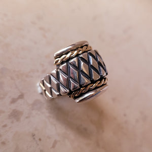 Sterling Silver with Twisted 14k Gold Accent