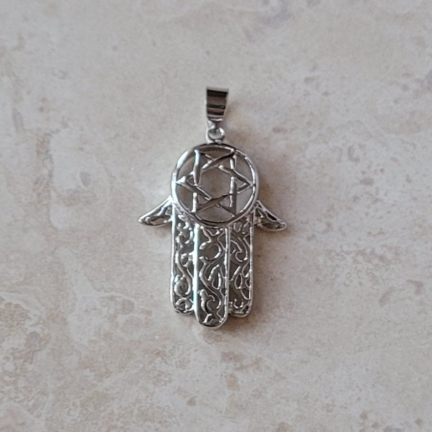 Silver Hamsa with Star of David