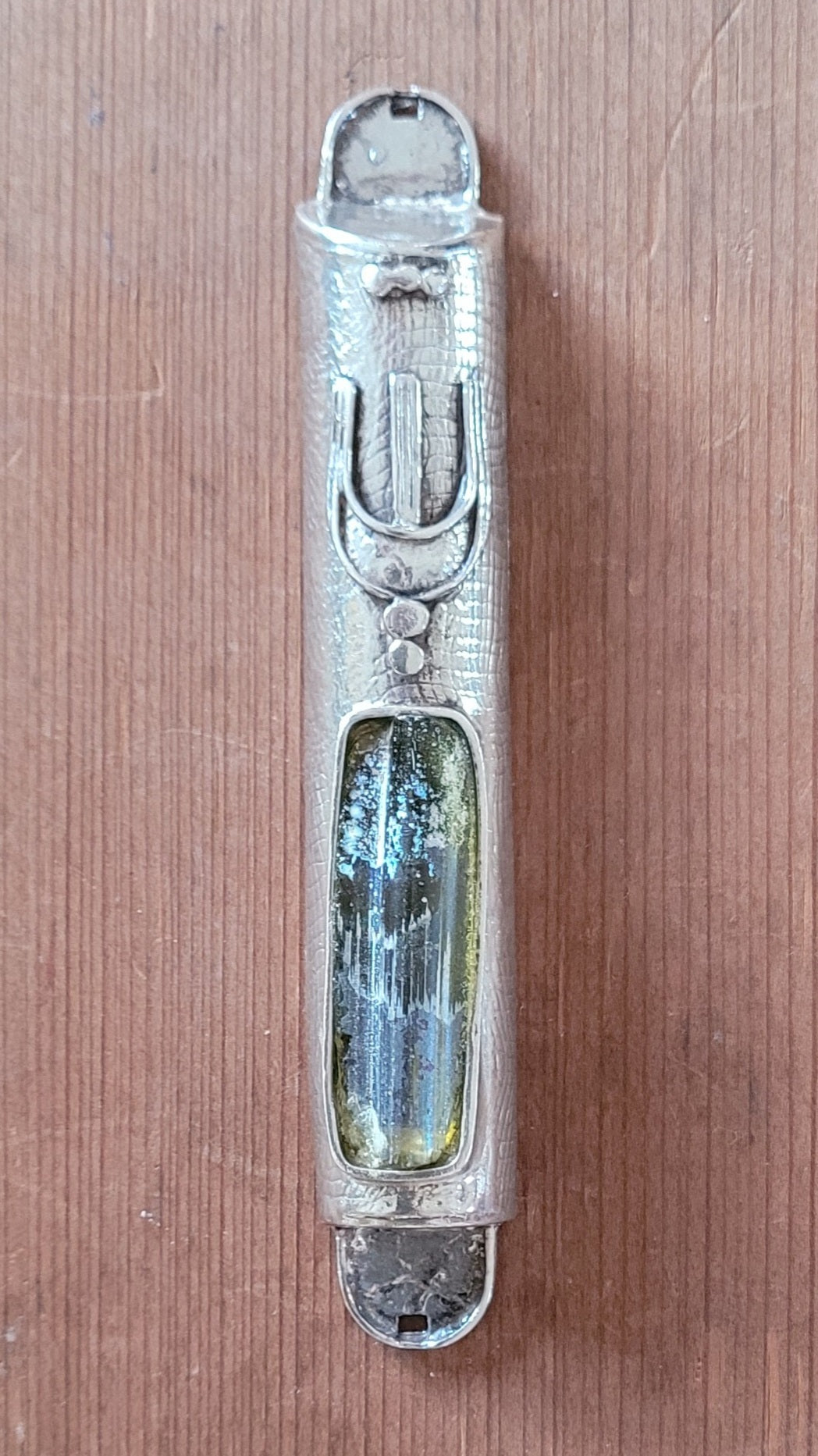 Sterling Silver Mezuzah with Roman Glass