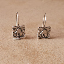 Load image into Gallery viewer, Silver Hamsa Earrings on Wire
