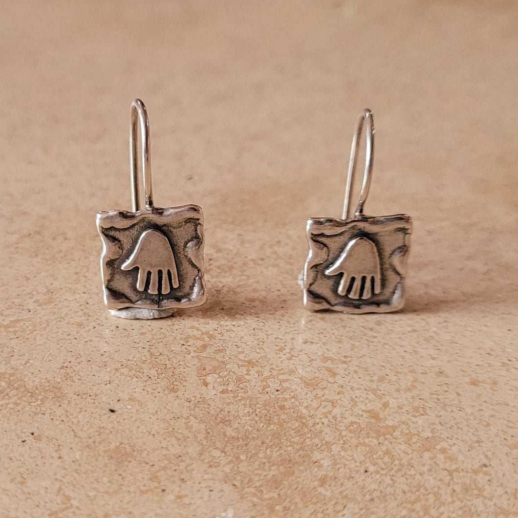 Silver Hamsa Earrings on Wire