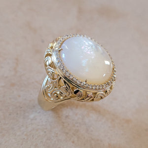 Gold and Mother of Pearl Ring with CZ's