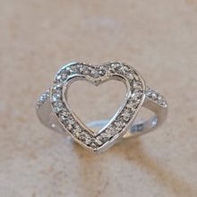 Load image into Gallery viewer, Silver Open Heart Ring with CZ's