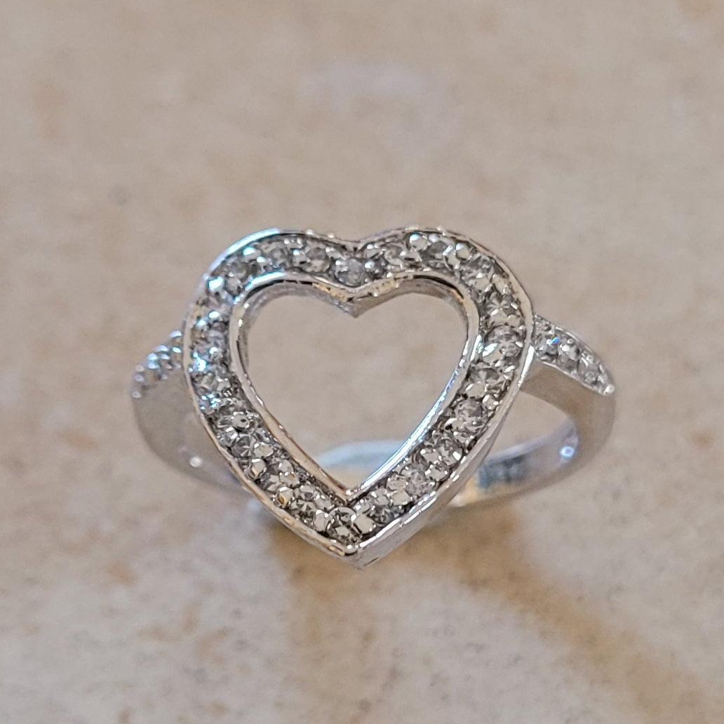 Silver Open Heart Ring with CZ's