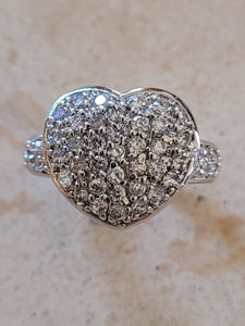 Silver Pave' Heart Ring