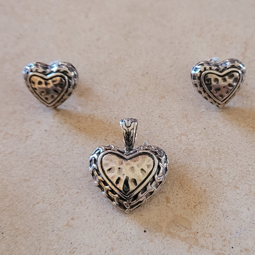 Silver Heart Pendant and Earrings