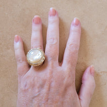 Load image into Gallery viewer, Gold and Mother of Pearl Ring with CZ's