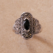 Load image into Gallery viewer, Silver Ring with Onyx and Marquisite