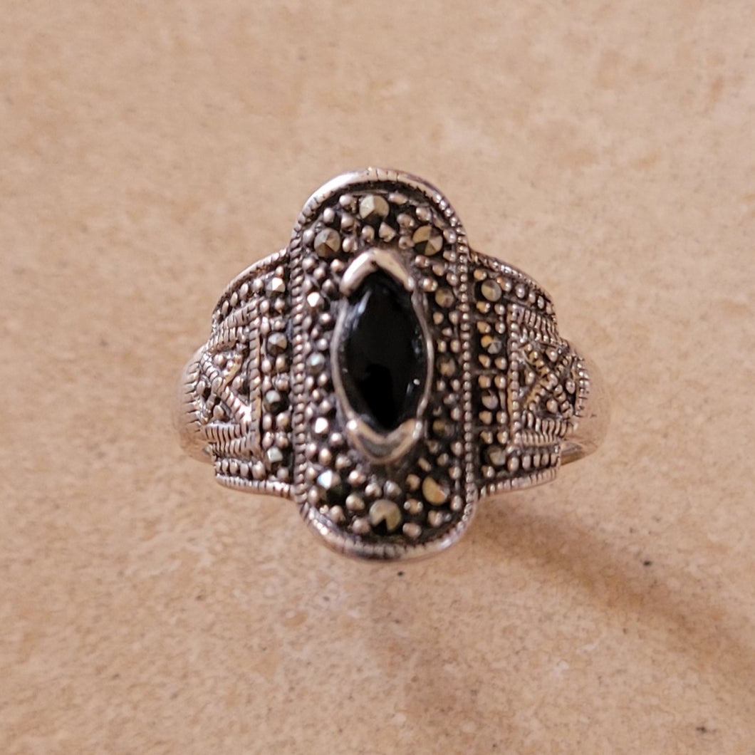 Silver Ring with Onyx and Marquisite