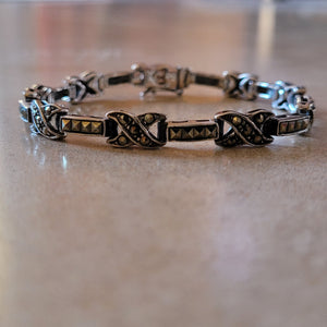 "Silver and Marquisite ""Kiss"" Bracelet"