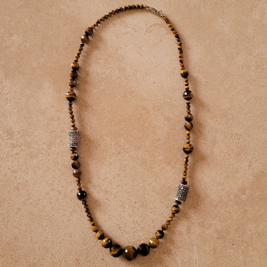 Tiger Eye and Marquisite Necklace