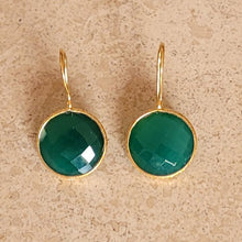 Load image into Gallery viewer, Gold and Onyx Earrings
