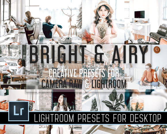 bright and airy adobe acr lightroom camera raw presets for desktop minimalism white filters bright warm