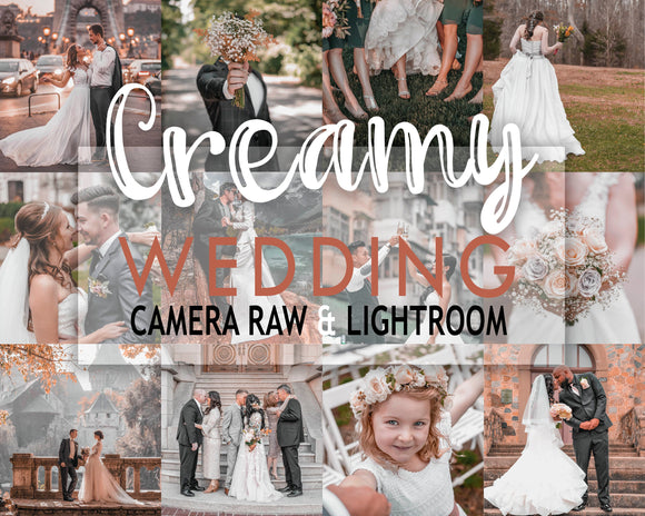 Creamy WEdding Presets Bright and airy lightroom camera raw