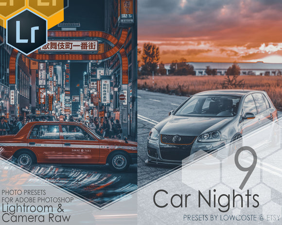 Photo Presets For Adobe Photoshop Lightroom & Camera Raw 9 Car Nights Presets By Lowcoste