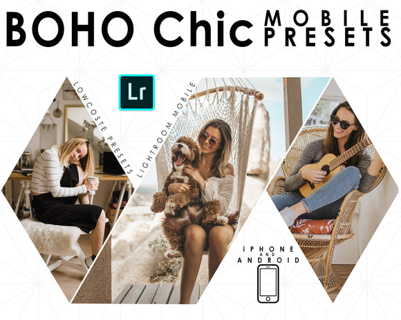 Boho Chic Lightroom Preset for Mobile Use , 5 Brown Bright and Moody Feel, For Instagram And Bloggers
