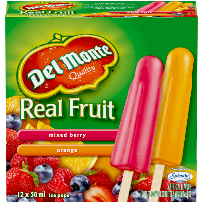 Del Monte Mixed Berry & Orange Ice Pops (12)