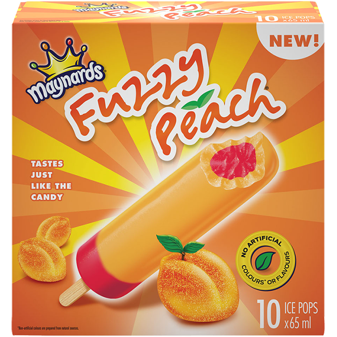 Maynards Fuzzy Peach Ice Pops (10)