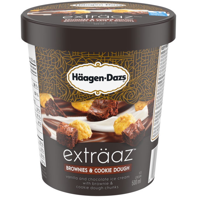 Häagen-Dazs Exträaz Brownie and Cookie Dough Ice Cream (500ml)
