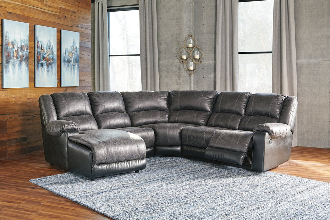 Nantahala Signature Design by Ashley 5-Piece Reclining Sectional with Chaise