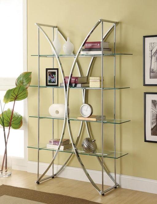 G910050 Contemporary Chrome and Glass Bookcase image