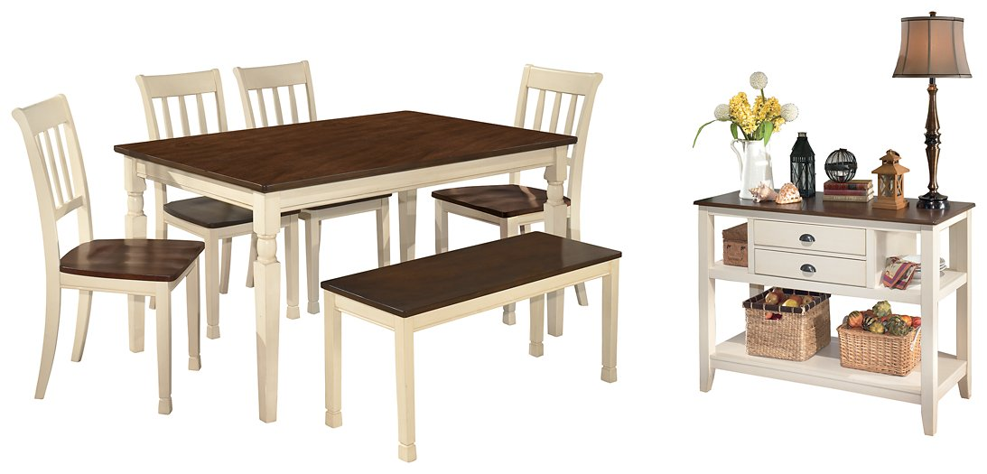 Whitesburg Signature Design 7-Piece Dining Room Set with Dining Room Bench