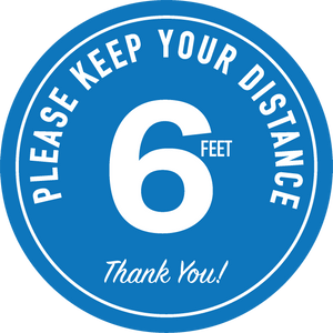 6 Feet Social Distance Decal - Sold as a set of 10